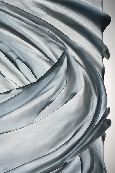 Detail of contemporary sculpture Tempest which uses abstract drapery to look at human influences on global weather