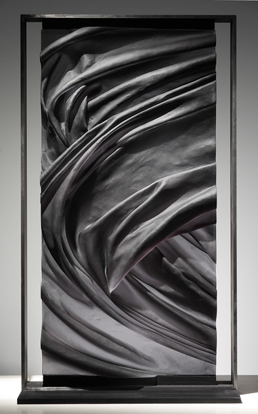 Sumei Scroll Drapery is an abstract artwork which melds ink landscapes and sculpture to investigate the sublime