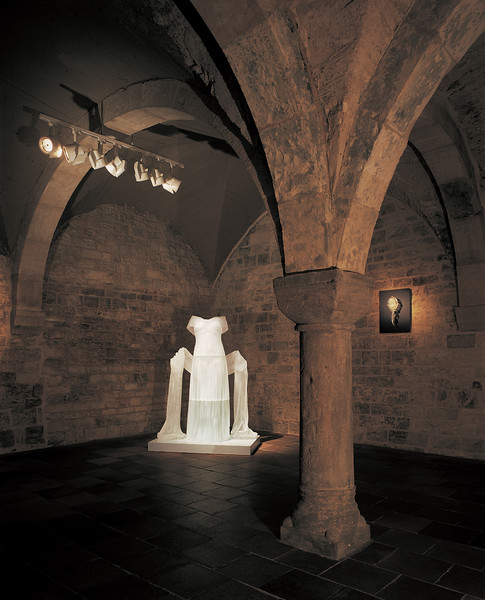 Transhistorical installation of contemporary dress sculpture installed in the Romanesque basement of the Czech Museum of Fine Art