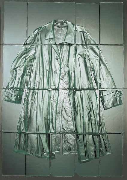 A unique artwork of an overcast cut into tiles in bas-relief cast glass by Karen LaMonte