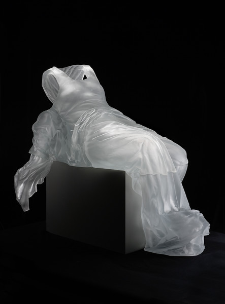 Contemporary sculpture of dress with baroque drapery investigates the perception of the female figure throughout time