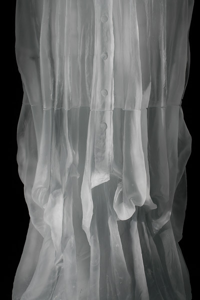 Detail of contemporary sculpture which uses the dress and female body to investigates cultural  perception throughout time