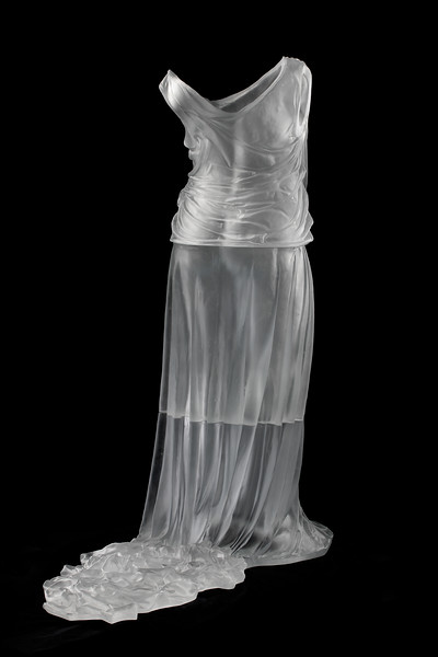 Dress with Train sculpture in cast glass