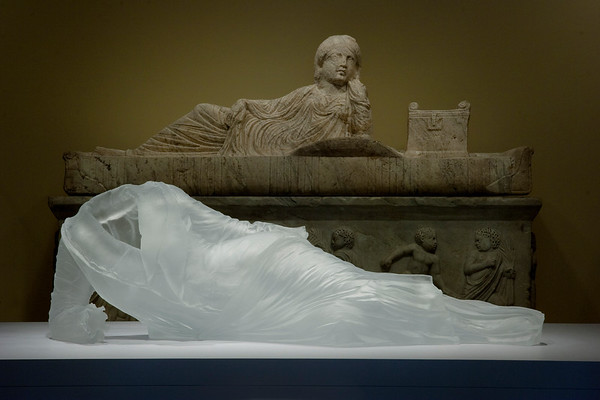 Contemporary sculpture of dress in transhistorical installation with Roman sarcophagus at the Chrysler Museum | Karen LaMonte Contemporary Amongst the Classics