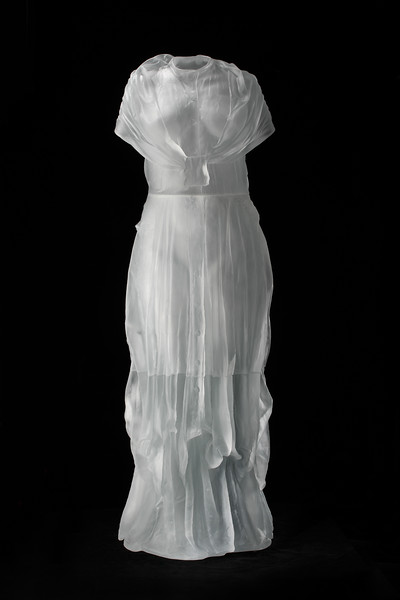 This contemporary sculpture uses the dress and female body to investigates cultural  perception throughout time