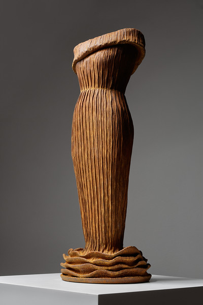 Contemporary sculpture of a dress in rusted cast iron. Etude. ⅓ life-size.