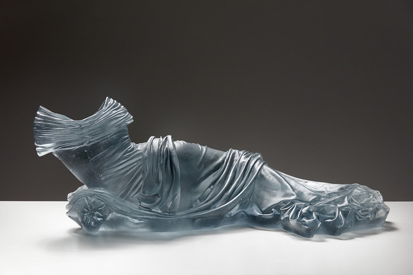 Artwork of a reclining figure in glass challenges traditional views, ⅓ scale, Karen LaMonte