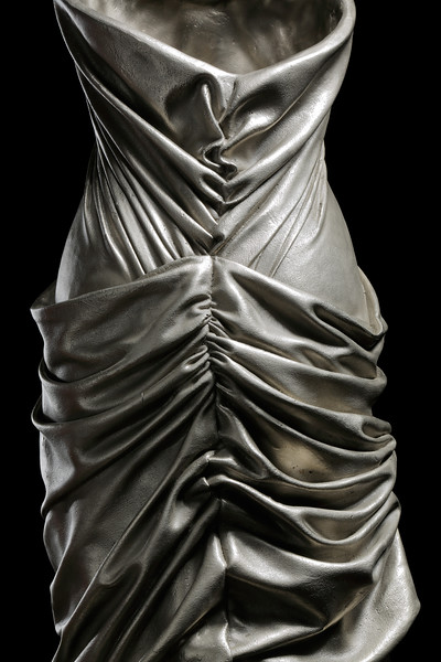 Detail of drapery in white bronze on sculpture of dress by contemporary artist Karen LaMonte. ⅓ scale