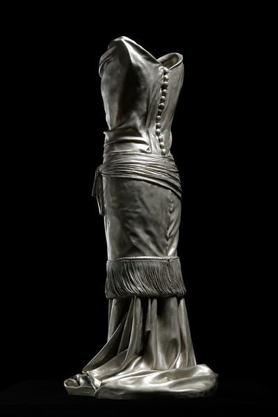 Dress sculpture in white bronze by contemporary artist Karen LaMonte. ⅓ scale