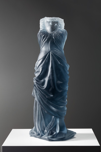Dress sculpture in cast glass by feminist artist Karen LaMonte, ⅓ scale. Etude.