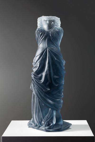 Dress sculpture in cast glass by feminist artist Karen LaMonte, ⅓ scale. Etude.