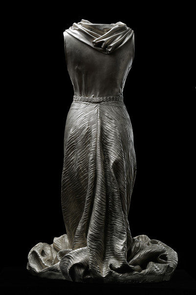 Dress sculpture by contemporary artist Karen LaMonte. White bronze, ⅓ scale