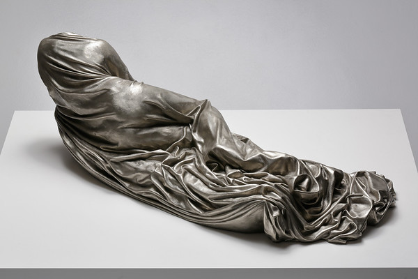 Dress sculpture by feminist artist Karen LaMonte subverting the odalisque - white bronze, ⅓ scale