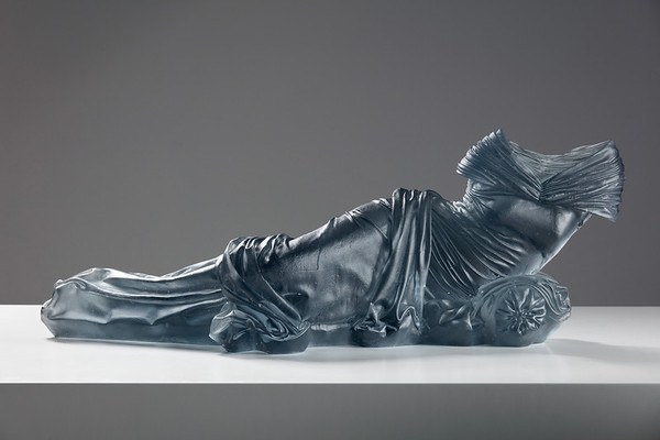 Artist Karen LaMonte's subversion of the odalisque through a sculpture of a reclining figure, cast glass, ⅓ scale
