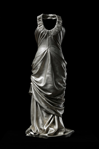 Figurative contemporary art sculpture of a dress in white bronze by feminist artist Karen LaMonte. ⅓ scale