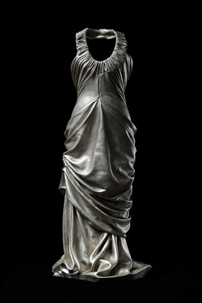 Figurative contemporary art sculpture of a dress in white bronze by feminist artist Karen LaMonte. ⅓ scale