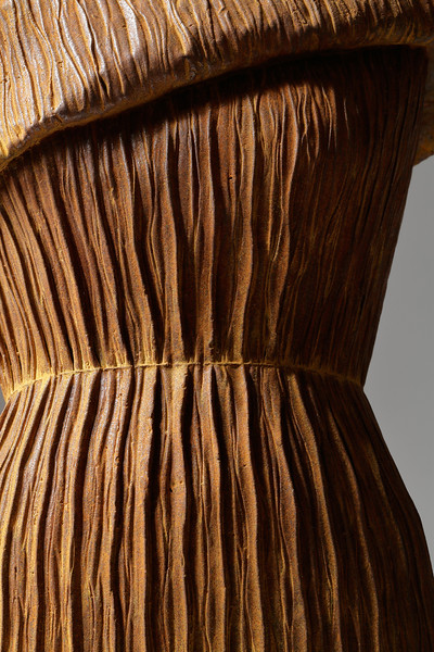 Detail of rusted drapery on dress sculpture  Etude Rusted iron. ⅓ life-size.