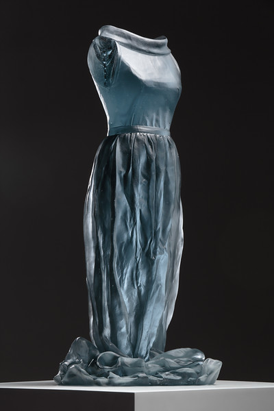Fashion and art together in a sculpture of a dress, cast glass