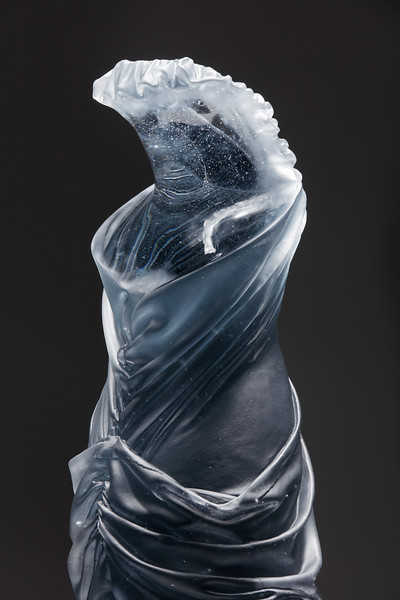 Detail of drapery in glass on figurative sculpture by Karen LaMonte