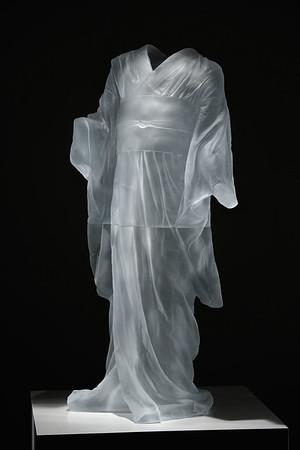"Life-size sculpture of Child's Kimono 43"" x 20"" x 17"", 2009, Cast Glass"