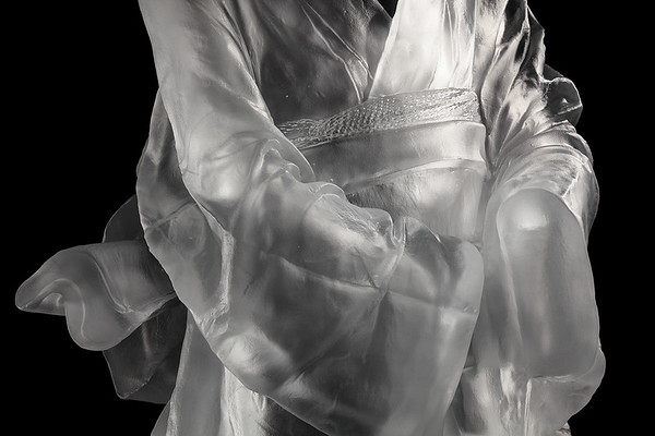 "Detail of Geisha, a figurative contemporary artwork of a kimono 52"" x 23"" x 18"" 2010, Cast Glass"