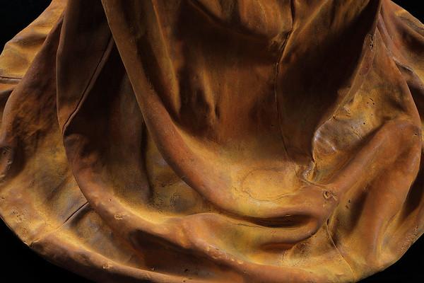 "Rust patina on kimono sculpture in cast iron 54"" x 30"" x 17"""
