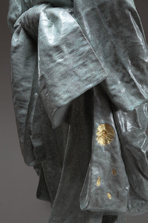 "Detail of life size ceramic kimono sculpture Young Bijin 42"" x 17"" x 16"""