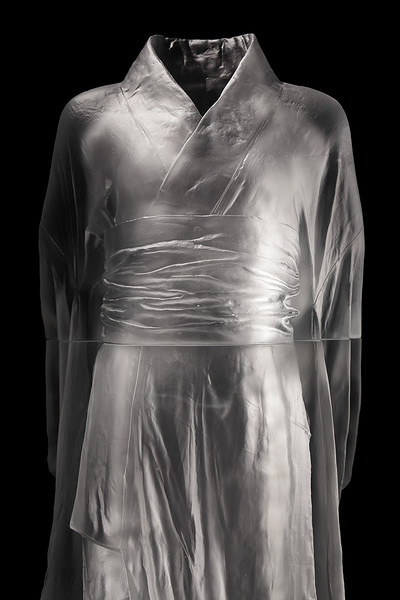 "Karen LaMonte's sculpture Hanako is a contemporary investigation of identity  Cast glass, 2012, 48"" x 20"" x 17"""