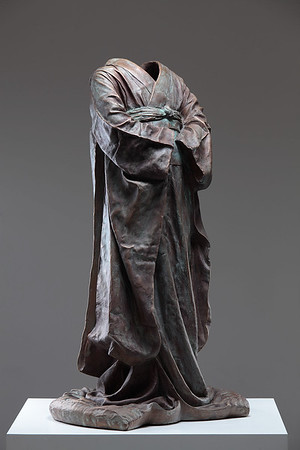 """Young Maiko is a bronze sculpture of a kimono by Karen LaMonte which looks at perceptions of beauty culture and identity 38"""" x 20.5"""" x 17"""" 2010"""