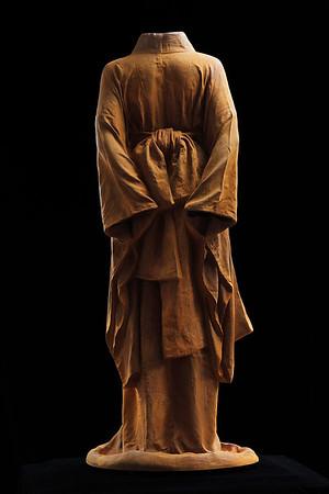 """Life-size cast iron sculpture of kimono by Karen LaMonte 48"""" x 20"""" x 17"""""""