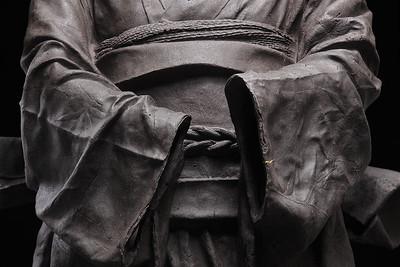 "Detail of ceramic kimono sculpture with gold leaf repaired crack | Karen LaMonte 2010, 48"" x 23"" x 17"""