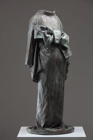 "A bronze sculpture of a kimono, life size, called Ojigi Bowing 51"" x 23"" x 18"" 2010"