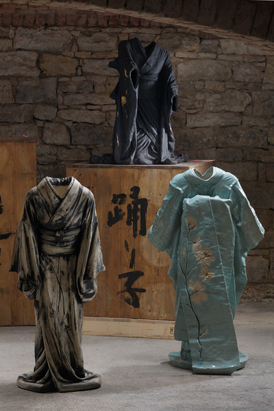 Art installation of sculptures of kimonos in ceramic which asks questions about the individual and society