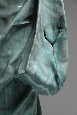 """Detail of Child's Kimono sculpture which asks questions about identity and culture 45"""" x 20"""" x 19"""" 2010, Ceramic with Celadon Glaze"""