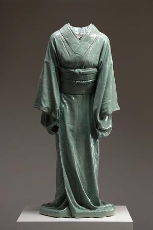 "Life-size Kimono artwork in ceramic with celadon glaze called Ojigi - Bowing 49"" x 22"" x 17"" 2010"
