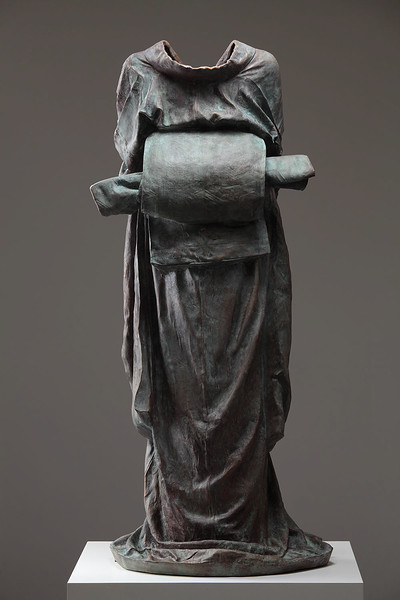 """Geisha is a life size sculpture of a kimono in bronze by Karen LaMonte that looks at identity and culture 51"""" x 24"""" x 18"""" 2010"""