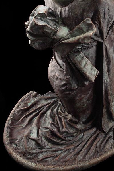 """Detail of Karen LaMonte's bronze kimono sculpture Chado, which asks questions about self and other, intensity and perception 38"""" x 32"""" x 33"""" 2011"""