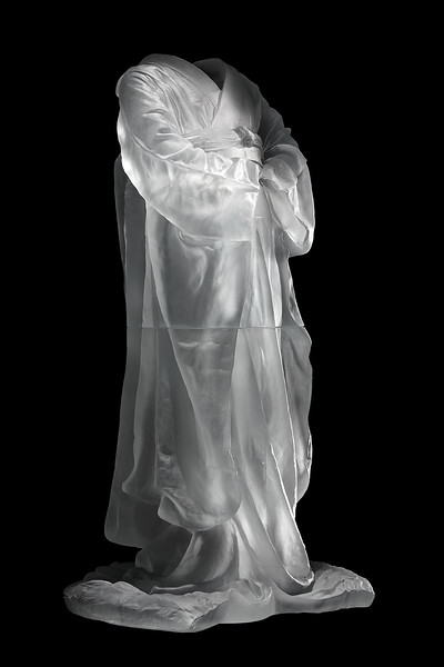 "Kimono sculpture exploring questions of culture identity and self 38"" x 20"" x 16"" 2010, Cast Glass"