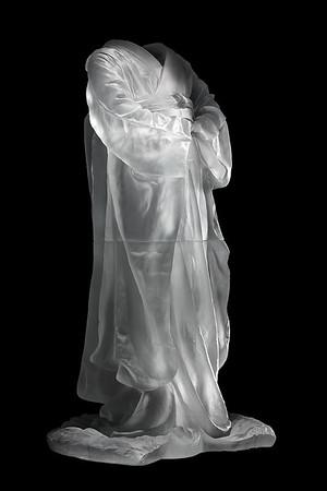 "Kimono sculpture exploring questions of culture identity and self 38"" x 20"" x 16"" 2010, Cast Glass"