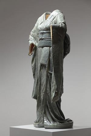 "LaMonte's sculpture Odoriko uses the form of a kimono to explore ideas of beauty and identity Ceramic 49"" x 27"" x 16"""