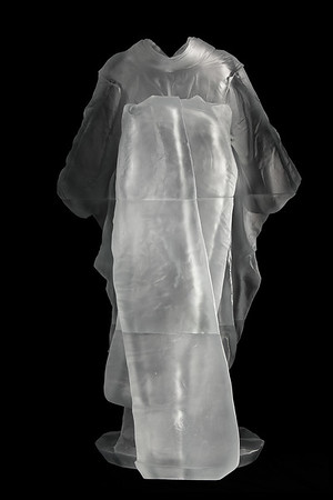 """Contemporary artwork of life-size kimono sculpture with absent body called Maiko  52"""" x 31.5"""" x 22.5"""" 2010, Cast Glass"""