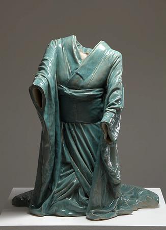 "Contemporary sculpture of kneeling kimono for tea ceremony in ceramic with celadon glaze called Chado 39"" x 34"" x 32"" 2010"