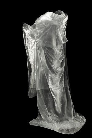 "Kimono sculpture Kabuki asks complex questions about beauty and identity  Cast Glass 60"" x 32"" x 33"""