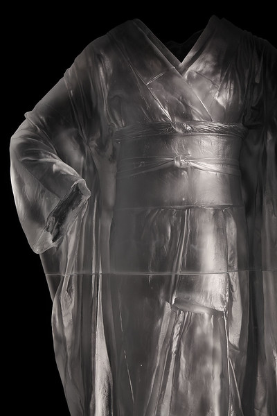 "Detail of life size sculpture of a glass kimono called Odoriko which asks question about imperfect beauty 2012, 54"" x 30"" x 17"""