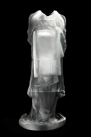 "Back of Bijin, a sculpture of a kimono in glass 53"" x 22"" x 26"""