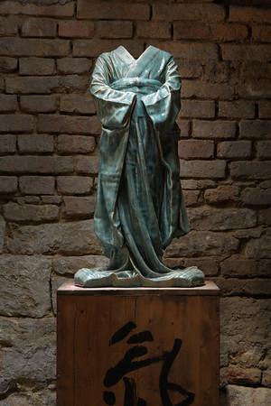 Bronze sculpture of kimono by LaMonte