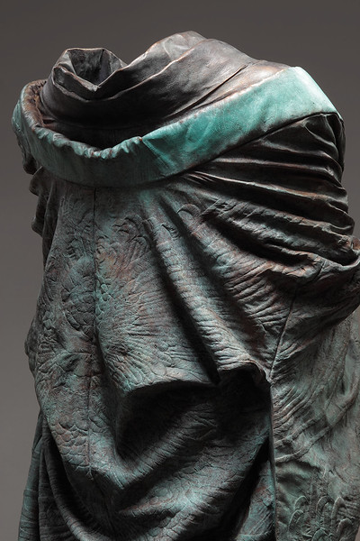 "Detail of Kabuki, a contemporary artwork of a kimono in bronze 60"" x 32"" x 33"""