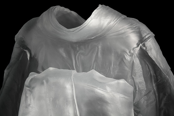 "Detail of life-size kimono sculpture with absent body called Maiko  52"" x 31.5"" x 22.5"" 2010, Cast Glass"