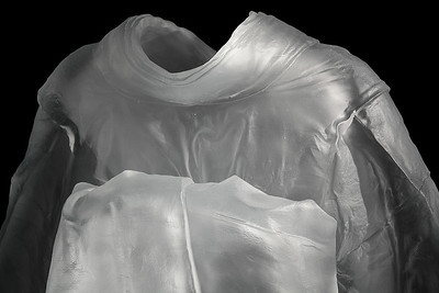 """Detail of life-size kimono sculpture with absent body called Maiko  52"""" x 31.5"""" x 22.5"""" 2010, Cast Glass"""