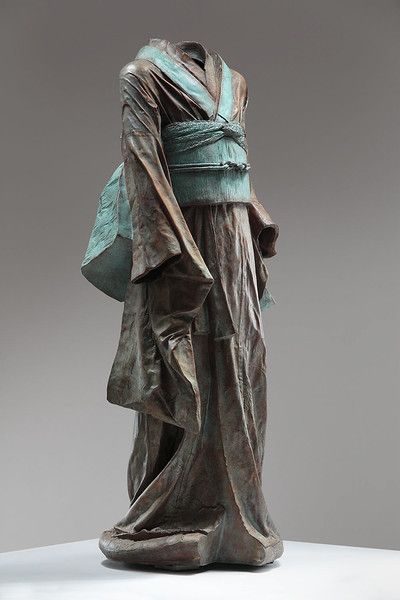 "Young Bijin is a sculpture of a kimono in bronze. 46"" x 19"" x 17"""